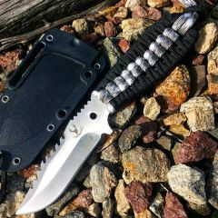 "TheBoneEdge 7.5""  Hunting Tactical Knife With Sheath Winter Camo & Black Cord Handle"