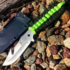 "TheBoneEdge 7.5"" Hunting Tactical Knife w/ Sheath and Green & Black Strap Handle"