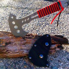 "Defender-Xtreme 10.5"" Hunting Survival Tactical Axe - Gray & Red & Black Handle"