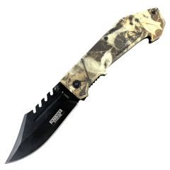 "Defender Xtreme 8.5"" Spring Assisted Tactical Survival Knife Winter Leaves Handle"