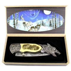 "TheBoneEdge 8"" Wolf Pattern Handle & Blade Folding Knife"