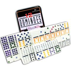 Perrini 91 PC Double 12 Color Dot Dominoes Game for kids New