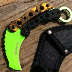 "Zomb-War 6"" Tactical Combat Rescue Full Tang Fixed Blade Knife Fall Camo Handle"