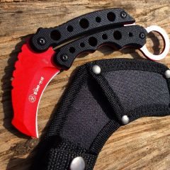 """Zomb-War 6"""" Tactical Combat Rescue Full Tang Fixed Blade Knife Slotted Handle"""