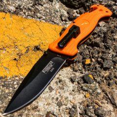 """Defender-Xtreme 8"""" Spring Assisted Knife With Mini LED Flashlight Orange Handle"""