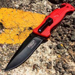 "Defender-Xtreme 8"" Spring Assisted Folding Knife Mini LED Flashlight Red Handle"
