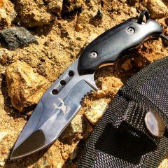 "TheBoneEdge 6"" Hunting Knife Full Tang Tactical Survival Knife Black Handle"