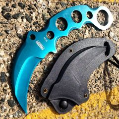 "Defender-Xtreme 7.5"" Tactical Combat Karambit Knife Full Tang With Sheath - Teal"