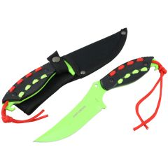 "Hunt-Down 8"" Light Green Hunting Knife With Black Handle and Green Red paracord"
