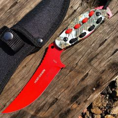 "Hunt-Down 8"" Red Hunting Knife With Woodland Camo Handle and Black Red paracord"