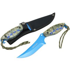 "Hunt-Down 8"" Blue Hunting Knife With Woodland Camo Handle & Nylon Sheath"