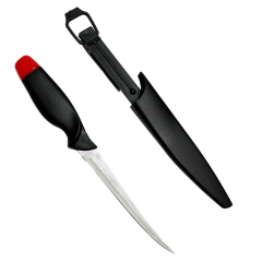 """11.5"""" Defender Comfort Red Cap Fish Fillet Knife Black w/ Blue Accent Handle"""