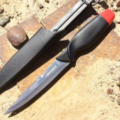 """Defender 10.5"""" Fishing Comfort Red Fillet Knife with Serrated Edge With Sheath"""