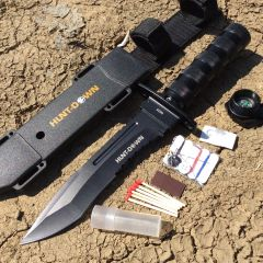 "Hunt-Down 12"" All Black Fixed Blade Survival Knife - Survival Kit & Compass"