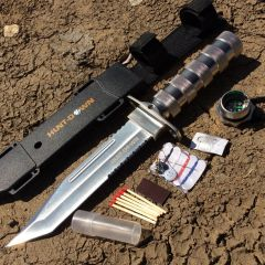 "Hunt-Down 12"" Chrome Color Fixed Blade Survival Knife - Survival Kit & Compass"