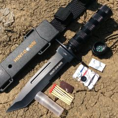 "Hunt-Down 12"" Black Color Fixed Blade Survival Knife - Survival Kit & Compass"
