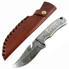 "TheBoneEdge 7"" Silver Fish Hook Damascus Blade Hunting Survival Tactical Knife"