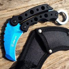 "Zomb-War 6"" Karambit Knife Tactical Combat Rescue - Black Handle"