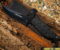 "Hunt-Down 8"" Black Hunting Knife With Black Handle and Black paracord & Sheath"