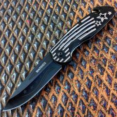 """Defender 8.5"""" Star & Stripes Handle Spring Assisted Knife w/ Seatbelt Cutter"""
