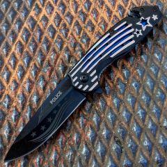 """Defender 8.5"""" Spring Assisted Knife Star & Stripes Handle w/ Seatbelt Cutter"""