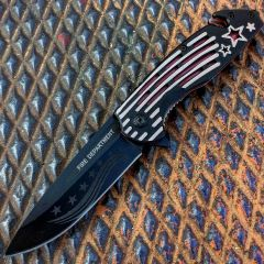 """Defender 8.5"""" Spring Assisted Knife w/ Seatbelt Cutter Star & Stripes Handle"""