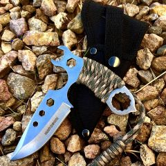 "Hunt-Down 5"" Chrome All Around Survial Knife Stainless Steel Blade with Sheath"
