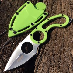 "Defender-Xtreme 7"" Stainless Steel Full Tang Survival Knife With Sheath - Green"