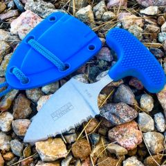 "Defender-Xtreme 5"" Stainless Steel Full Tang Tactical Survival Blue Push Knife"