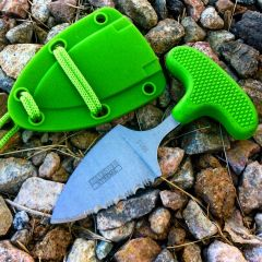 "Defender-Xtreme 5"" Stainless Steel Full Tang Survival Lime Green Push Knife"