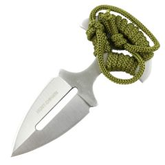 "Hunt-Down 5"" Push Dagger Hunting Knife with Leather Sheath Green Cord Handle"