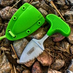 "Defender-Xtreme Hunting Knife 3.5"" Green Full Tang Stainless Steel Blade w/ Cord"