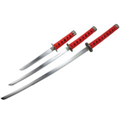 3pc Black and Red Samurai Sword Set Corbon Steel Blade with Stand Good Quality