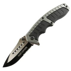 """Hunt-Down 8.5"""" Silver & Black Folding Spring Assisted Knife Stainless 3CR13 Steel"""