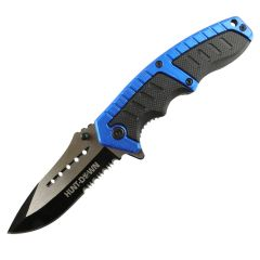 """Hunt-Down 8.5"""" Blue & Black Folding Spring Assisted Knife Stainless 3CR13 Steel"""