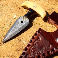 "TheBoneEdge 5"" white Damascus Custom Handmade Hunting Knives with Sheath"