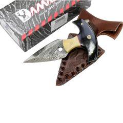 "TheBoneEdge 5""  Damascus Custom Handmade Hunting Knives with Sheath Dagger"