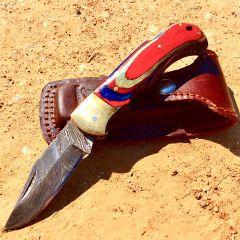 "TheBoneEdge 6.5"" Damascus Folding Knife Red Wood Handle Handmade with Sheath"