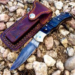 "TheBoneEdge 6.5"" Damascus Folding Knife Lamb Horn Handle Handmade with Sheath"