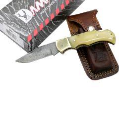 "TheBoneEdge 6.5"" Damascus Folding Knife Horn Handle Handmade with Sheath"