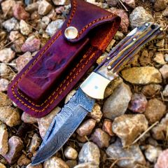 "TheBoneEdge 6.5"" Damascus Folding Knife Stag Handle Handmade with Sheath New"