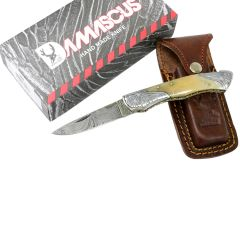 "TheBoneEdge 7"" Damascus Folding Knife Horn Handle Bolster Handmade with Sheath"