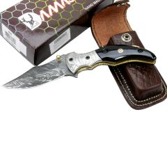 "TheBoneEdge 7.5"" Damascus Blade Folding Knife Horn Handle Handmade with Sheath"