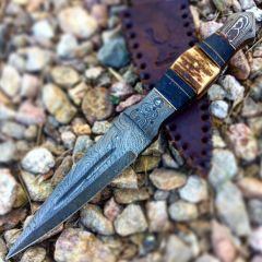 "TheBoneEdge 9.5"" Damascus Blade Stag Handle Hunting Knives with leather Sheath"