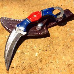 "TheBoneEdge 8"" Skinner Damascus Blade Blue Horn Handle Hunting Knife with Sheath"