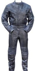 2pc Motorcycle Riding Racing Track Suit w/ padding All Leather Drag Suit Black2