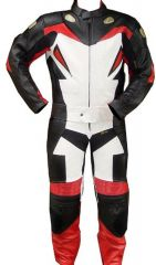 2pc Motorcycle Riding Racing Leather Track Suit with Padding New Red
