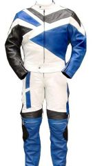 2pc Motorcycle Riding Racing Track Suit w/ padding All Leather Drag Suit Blue