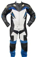 2pc Motorcycle Riding Racing Leather Track Suit with Padding New Blue/White/Black