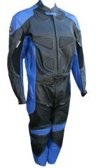 2pc Motorcycle Racing Riding Leather Track Suit w/ Armor Padding New Blue/Black